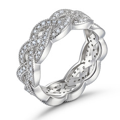 Intertwined Round Cut 925 Silver Women's Bands (305257324)