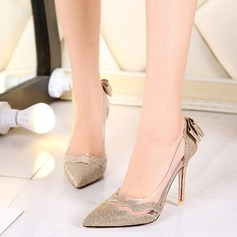 Women's Leatherette Stiletto Heel Pumps With Bowknot Sparkling Glitter Split Joint shoes (085114613)