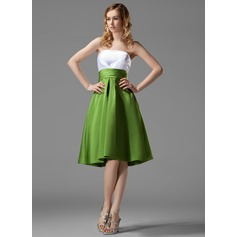 Empire Strapless Knee-Length Satin Bridesmaid Dress With Ruffle