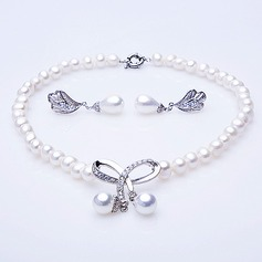 "Bowknot Pearl/""A"" Level Pearl Ladies' Jewelry Sets"