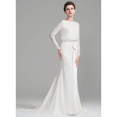 Sheath/Column Scoop Neck Court Train Chiffon Wedding Dress With Ruffle Bow(s)