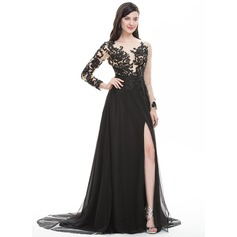 A-Line/Princess Scoop Neck Sweep Train Tulle Prom Dresses With Beading Sequins Split Front