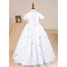 Ball Gown Floor-length Flower Girl Dress - Organza Short Sleeves Jewel With Flower(s)/Bow(s) (Petticoat NOT included)