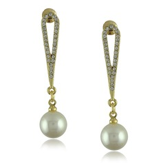 Charming Alloy/Pearl/Rhinestones Ladies' Earrings