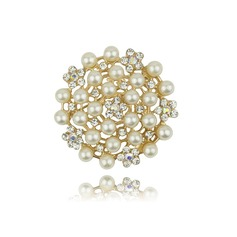 Beautiful Alloy Rhinestones Imitation Pearls With Rhinestone Ladies' Fashion Brooches (Sold in a single piece)