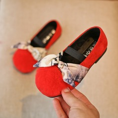 Girl's Closed Toe Loafers & Slip-Ons Suede Flat Heel Flats With Bowknot