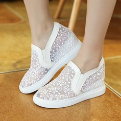 Women's Lace Wedge Heel Wedges With Stitching Lace shoes (116138274)