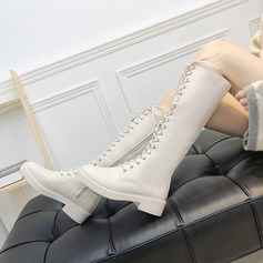 Women's PU Chunky Heel Boots Over The Knee Boots With Lace-up shoes