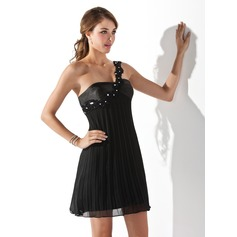Empire One-Shoulder Short/Mini Chiffon Cocktail Dress With Beading Appliques Lace Pleated