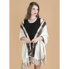 Cold weather Wool/Rex Rabbit Hair Poncho