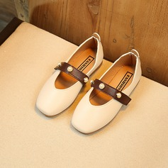 Girl's Leatherette Flat Heel Closed Toe Flats With Imitation Pearl