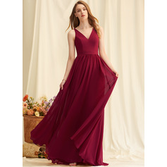 A-Line Floor-Length Chiffon Bridesmaid Dress With Lace