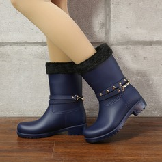 Women's PVC Low Heel Boots Mid-Calf Boots Rain Boots With Sequin Rivet shoes (088131045)