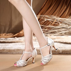 Women's Lace Heels Sandals Latin With T-Strap Dance Shoes
