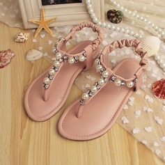 Girl's Peep Toe Slingback Leatherette Flat Heel Sandals Flats Flower Girl Shoes With Imitation Pearl