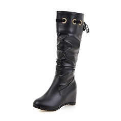 Women's Leatherette Wedge Heel Closed Toe Boots Knee High Boots With Lace-up shoes