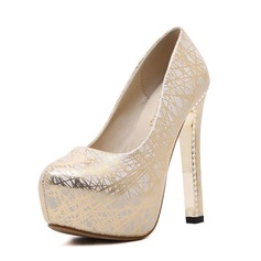 Women's Leatherette Stiletto Heel Closed Toe Platform