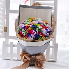Charming Free-Form Satin/Rhinestone/Soap Flower Flower Gifts