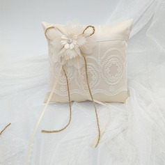 Pure Elegance/Beautiful Cloth Ring Pillow With Flowers/Lace/Rustic Twine