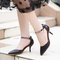 Women's Leatherette Stiletto Heel Sandals Pumps Closed Toe With Crystal Rivet Buckle shoes