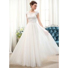 A-Line/Princess Scoop Neck Floor-Length Tulle Lace Wedding Dress With Beading Flower(s) Sequins