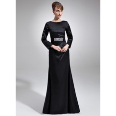 Sheath/Column Scoop Neck Floor-Length Charmeuse Mother of the Bride Dress With Beading