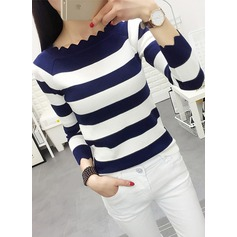Striped Cotton Boat Neck Sweater Sweaters (1002158521)