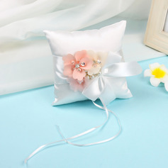Classic Cloth Ring Pillow With Sash/Artifical Flower