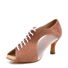 Women's Suede Mesh Heels Swing Dance Shoes