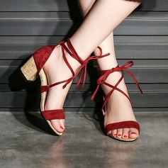 Women's Suede Chunky Heel Sandals Pumps Peep Toe With Lace-up shoes (087134579)