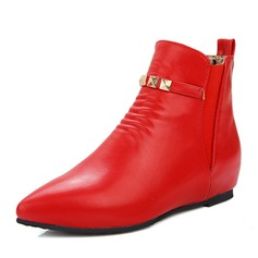 Women's Leatherette Wedge Heel Pumps Closed Toe Boots Ankle Boots shoes