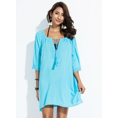 Elegant Solid Color Cotton Cover-ups Swimsuit (202172916)