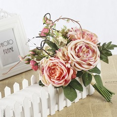 Lovely Satin Bridal Bouquets/Bridesmaid Bouquets (Sold in a single piece) - Boutonniere