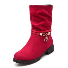 Women's Suede Low Heel Boots Ankle Boots With Rhinestone shoes