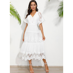 Lace Solid V-Neck Short Sleeves Maxi Dresses (293250264)