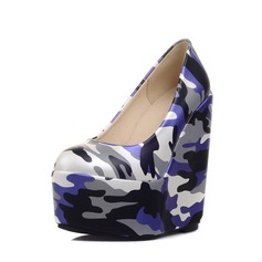 Women's PU Wedge Heel Pumps Platform Closed Toe Wedges With Satin Flower shoes (116150487)