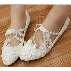 Women's Leatherette Flat Heel Closed Toe Flats With Imitation Pearl Flower