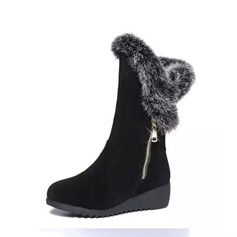 Women's Suede Wedge Heel Boots Mid-Calf Boots With Zipper Fur shoes (088137119)