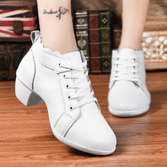 Women's Real Leather Heels Latin Modern Character Shoes With Lace-up Dance Shoes