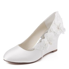 Women's Silk Like Satin Stiletto Heel Closed Toe Wedges With Stitching Lace Crystal Pearl