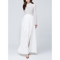 Lace/Cambric With Stitching Maxi Dress (199131655)