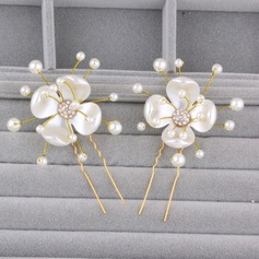 Ladies Glamourous Rhinestone/Alloy/Imitation Pearls Hairpins (Set of 2)