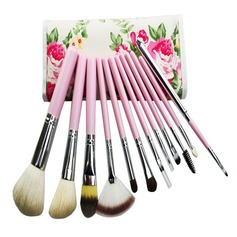 12 PCs Natural Goat Hair Makeup Brush Set With Pouch (046049538)