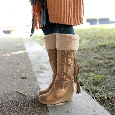 Women's Suede Wedge Heel Wedges Boots Knee High Boots Snow Boots With Lace-up Tassel shoes