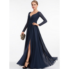 A-Line V-neck Floor-Length Chiffon Evening Dress With Split Front (017198658)