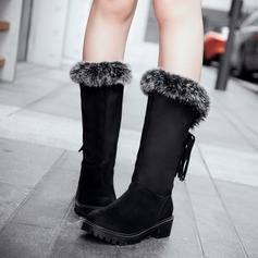 Women's Suede Flat Heel Boots Snow Boots With Tassel Fur shoes (088109406)