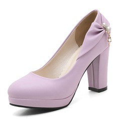 Women's PVC Chunky Heel Pumps Platform With Bowknot shoes (117153683)
