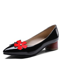 Women's Leatherette Chunky Heel Flats With Flower shoes