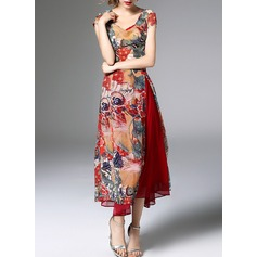 Polyester/Chiffon With Print Midi Dress (Two Pieces ) (199132114)