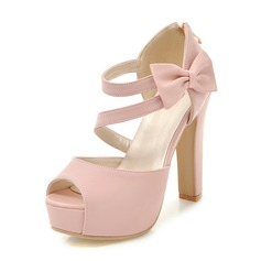Women's PU Chunky Heel Sandals Pumps Platform Peep Toe With Bowknot shoes (117156193)